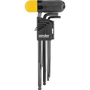 VONDER - Jogo de chaves allen 1,5 mm a 10 mm, longas, abauladas, com 10 peças