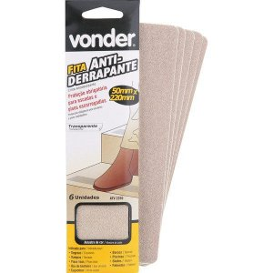 VONDER - Fita antiderrapante com 6 peças, transparente 50 mm x 220 mm