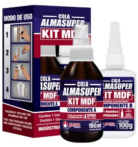 Almata - ALMASUPER® KIT MDF 190ml/ 100g - Cola Cianoacrilato Instantânea c/ Catalisador