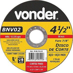 VONDER - Disco de corte 115 mm x 1,0 mm x 22,23 mm, BNV 02
