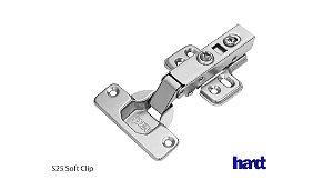 Hardt - Dobradiça de Caneco 35mm - S25/95 Soft Clip - BAIXA / RETA (Calço Clip – 4 Furos) c/ amortecedor calço clip