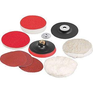 """VONDER - Jogo de discos para lixar e polir 4.1/2"""" e suporte com pluma (sistema fixa fácil)"""