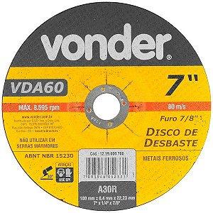 VONDER - Disco de desbaste 180 mm x 6,4 mm x 22,23 mm VDA-60