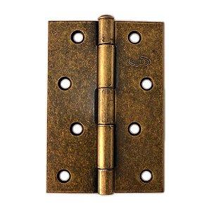 Gubler - Dobradiça Americana de Ferro Ouro Velho Pino Simples - 89 x 57mm