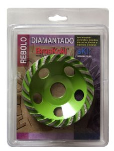 BrasKoki - Rebolo Diamantado 100 x 22,3mm Verde