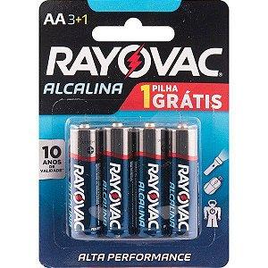"RAYOVAC - Pilha Alcalina ""AA"" Pequena - Cartela com 4 peças"