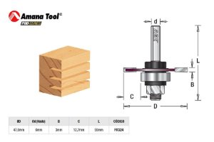 Amana Tool - AGE™ Pro-Series - FR324 - Canal Debrum 3mm Kerf - 3-Wing Slot Cutter - Haste 6mm