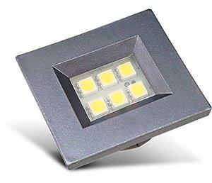 Artetílica Nuze - Luminária Pontual Retangular 35 - 6 Super Led 3000K 110/220V TITANIUM - E310.G