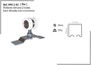 Perfil - Roldana - RPE 2-02 - Rodizio côncava 2 rodas base elevada com rolamento