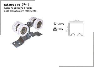 Perfil - Roldana - RPE 4-02 - Rodizio côncava 4 rodas base elevada com rolamento
