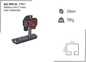 Perfil - Roldana - RPG-01 - Rodizio p/ Porta Giratória reta 2 rodas com rolamento