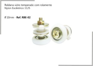 Perfil - Roldana vidro temperado - RBE 02 - Rodizio com rolamento Nylon Excêntrico 1125 Ø 10mm