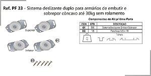 Perfil - Sistema deslizante para armário - PF 33 GMU - Duplo, Embutir e sobrepor até 30kg sem rolamento