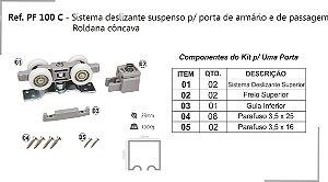 Perfil - Sistema deslizante suspenso - PF 100 C - p/ porta de armário e de passagem Roldana côncava
