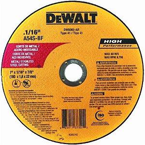 "Dewalt - Disco Abrasivo de Corte Fino - Metal/Inox - 7"" x 1,6mm x 7/8"" - DW8065-AR"