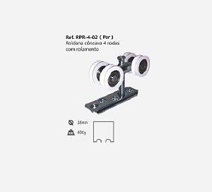 Perfil - Roldana - RPR 4-02 - Rodízio Côncavo 4 Rodas c/ Rolamento