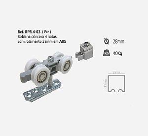 Perfil - Roldana - RPR 4-03 - Rodízio Côncavo 4 Rodas c/ Rolamento 28mm em ABS
