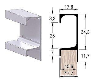 Alternativa - Perfil Puxador 5046 15mm Inox Escovado  6,0 m