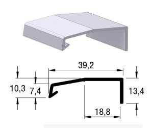 Alternativa - Perfil Puxador AREZZO 18mm Anodizado Jateado 6,0 m
