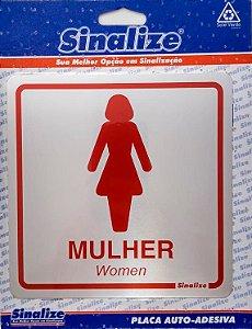 SINALIZE - Placa de Sinalização Alumínio - Sanitário Feminino - 15 x 15cm