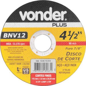 VONDER - Disco de Corte - 115 x 1,00 x 22,23mm - BNV 12
