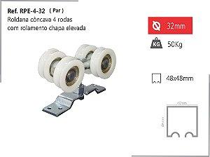 PERFIL - Roldana - RPE 4-32 - Côncava 4 Rodas c/ Rolamento Base Elevada
