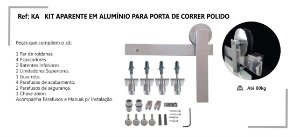 PERFIL - Kit Aparente p/ Porta de Correr 2m - KA P - Alumínio - Polido