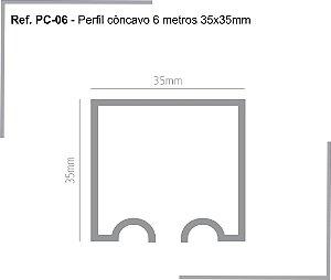 PERFIL - Perfil de Alumínio 6m - PC - Trilho Côncavo - 35 x 35mm