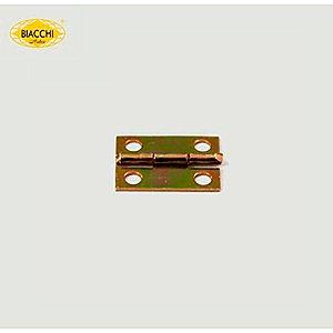 Biacchi - Dobradiça p/ Artesanato - 15 x 11mm Furo 2,40 - Aço Zinco Amarelo - DB5155-15AZA