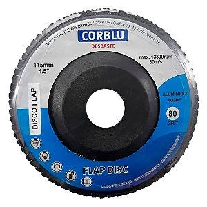 """CORBLU - Disco de Desbaste Flap 4.1/2"""" - 115mm - Grão 80"""
