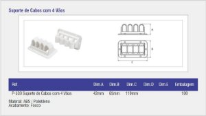 SAS PLASTIC - Suporte de Cabos com 4 Vãos - Branco