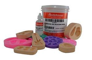 Redelease - Kit Borracha de Silicone Rosa p/ Moldes e Artesanato 01KG + CAT