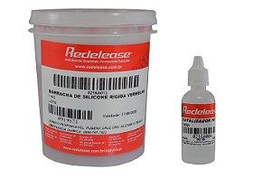 Redelease - Kit Borracha de Silicone Vermelha p/ Moldes e Fundição 01KG + CAT
