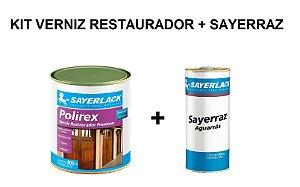 Sayerlack - Kit Verniz Restaurador Mogno 900ML + Aguarras Sayerraz