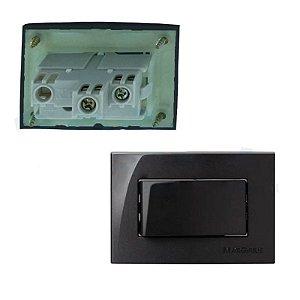 MarGirius - Conjunto Interruptor Paralelo Sleek - 10A 250V - Preto (PA016571)