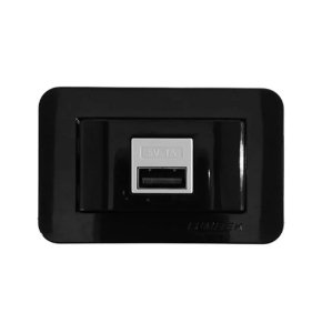 Lumitek - Tomada USB de Embutir p/ Móveis - 5V 1A - Bivolt - Preto