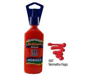 Acrilex - Dimensional Brilhante Relevo 3D - Vermelho Fogo (507)