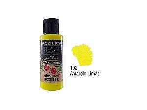 Acrilex - Tinta Acrílica Fosca Neon 60ml - Amarelo Limão (102)
