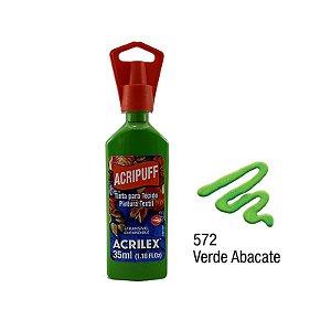 Acrilex - Tinta Expansível p/ Tecido 35ml - Acripuff - Verde Abacate (572)