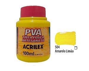 Acrilex - Tinta Fosca PVA p/ Artesanato 100ml - Amarelo Limão (504)