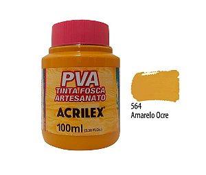 Acrilex - Tinta Fosca PVA p/ Artesanato 100ml - Amarelo Ocre (564)