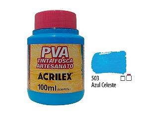 Acrilex - Tinta Fosca PVA p/ Artesanato 100ml - Azul Celeste (503)