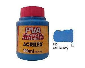 Acrilex - Tinta Fosca PVA p/ Artesanato 100ml - Azul Country (825)