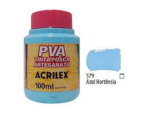 Acrilex - Tinta Fosca PVA p/ Artesanato 100ml - Azul Hortênsia (579)