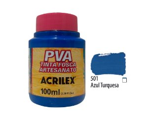 Acrilex - Tinta Fosca PVA p/ Artesanato 100ml - Azul Turquesa (501)