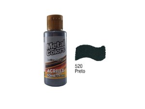 Acrilex - Tinta Metal Colors 60ml - Preto (520)