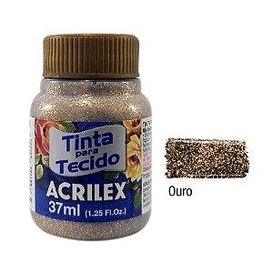 Acrilex - Tinta p/ Tecido Glitter 37ml - Ouro (201)
