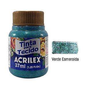 Acrilex - Tinta p/ Tecido Glitter 37ml - Verde Esmeralda (213)
