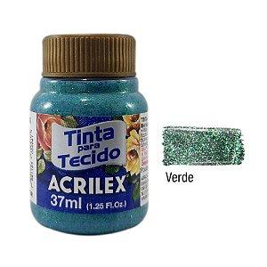 Acrilex - Tinta p/Tecido Glitter 37ml - Verde (206)