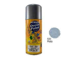 Acrilex -Tinta em Spray 150ml - Decor Paint - Prata (533)